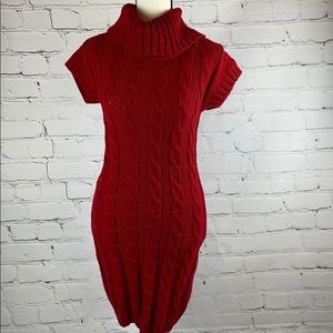 Say What red turtleneck cable knit mini dress med